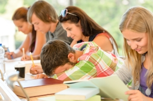 High-school student falling asleep in class teens